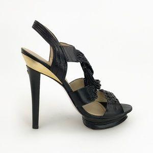 Charles Jourdan Black Braided Platform Heels | 9